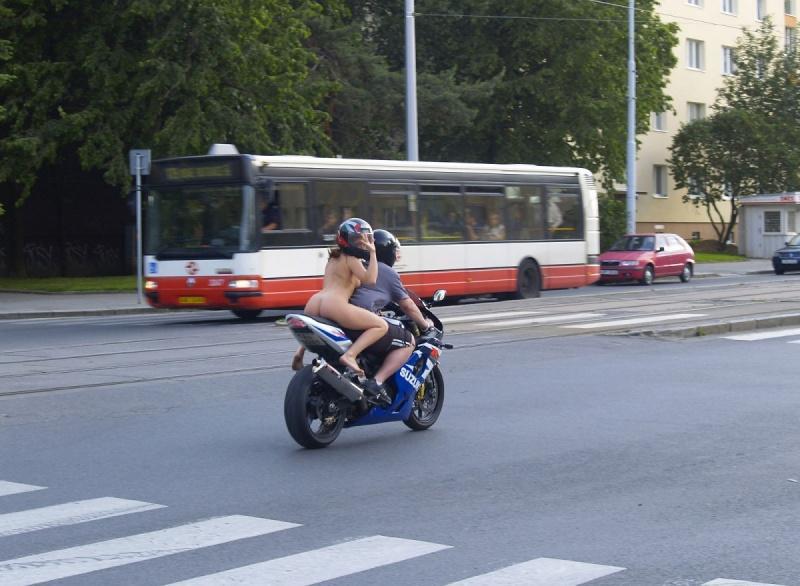 Naked biker-chick