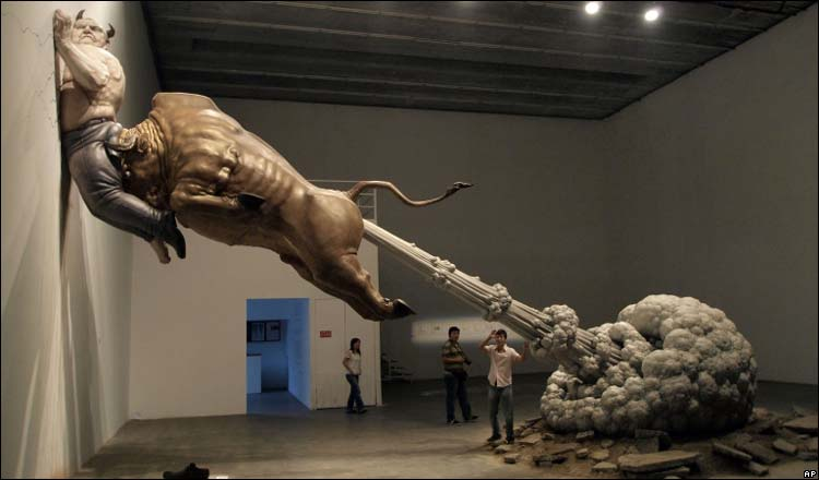 Bull pinned
