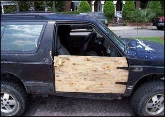 wooden car door