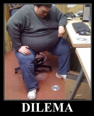 Improbable. Fat person on computer message simply